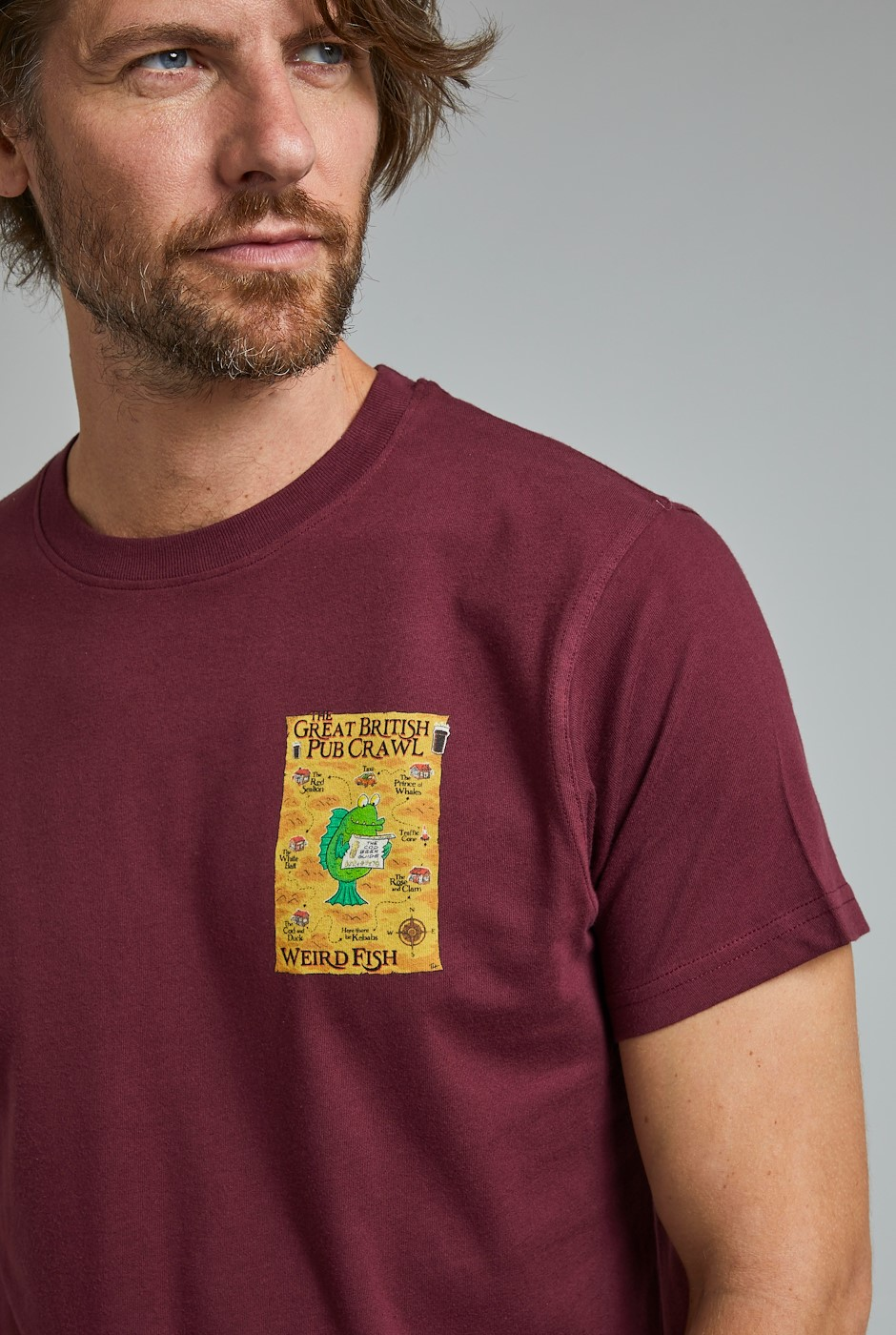 Pub Crawl Organic Cotton Artist T-Shirt Antique Cherry