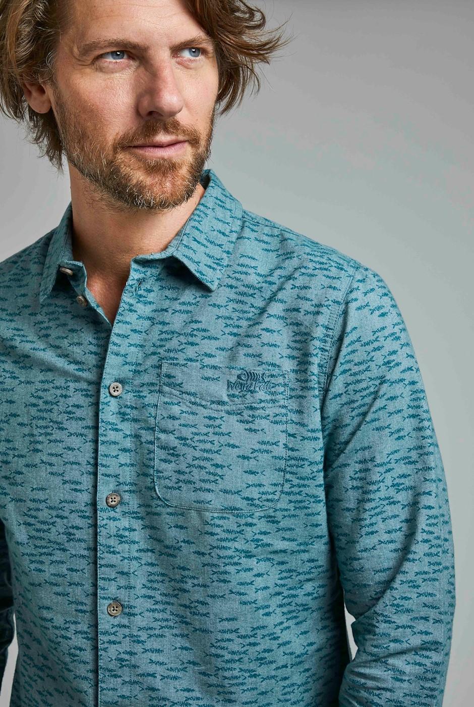Depp Long Sleeve Printed Shirt Petrol Blue
