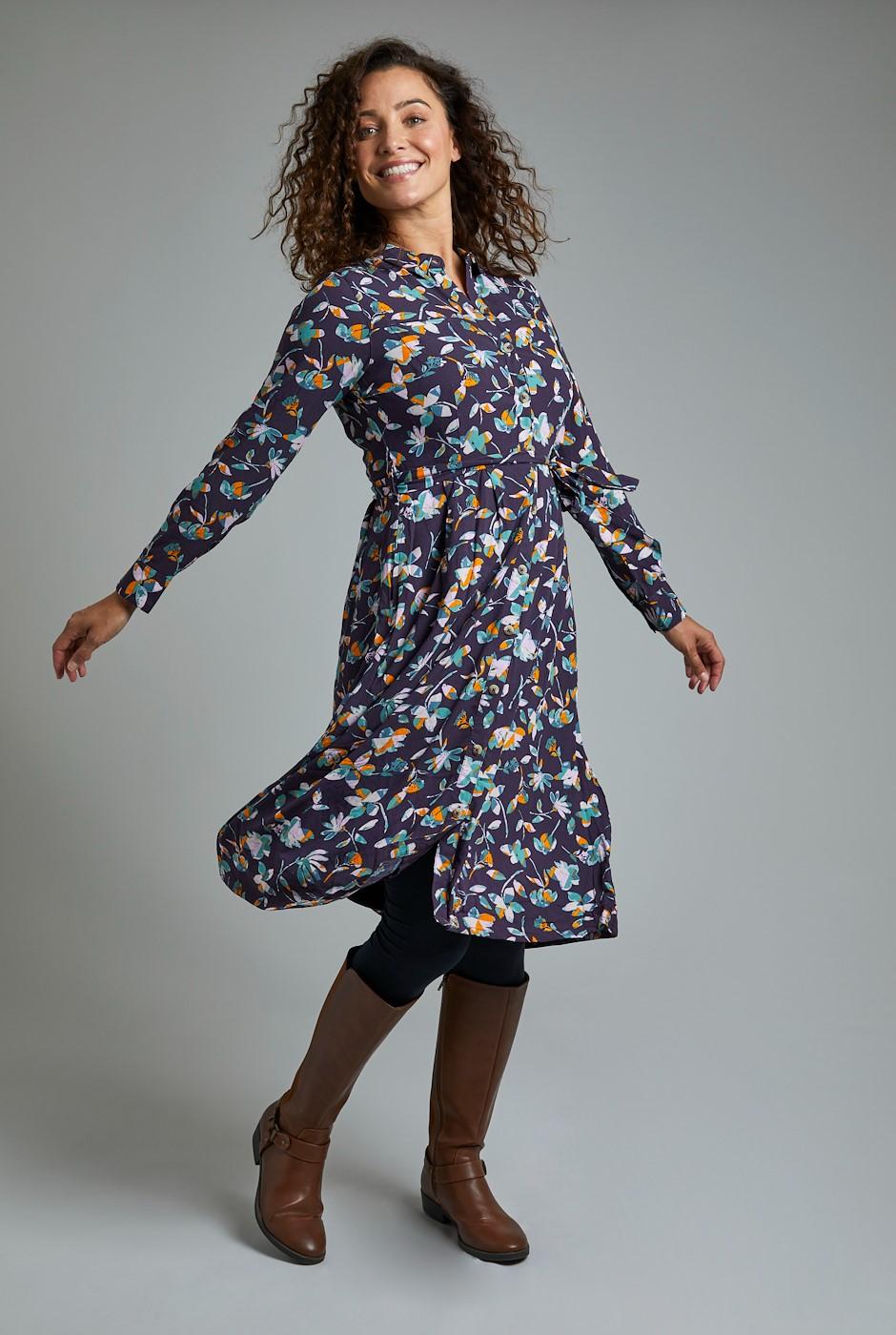 Lawson EcoVero Viscose Printed Shirt Dress Grape