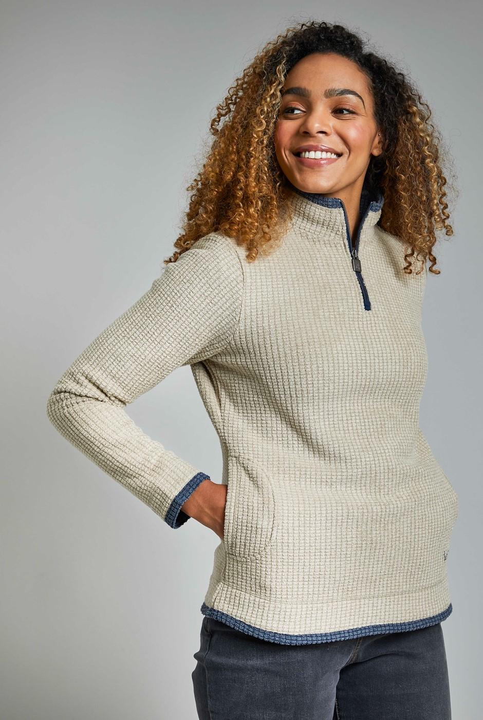 Beyonce Grid 1/4 Zip Fleece Taupe Grey