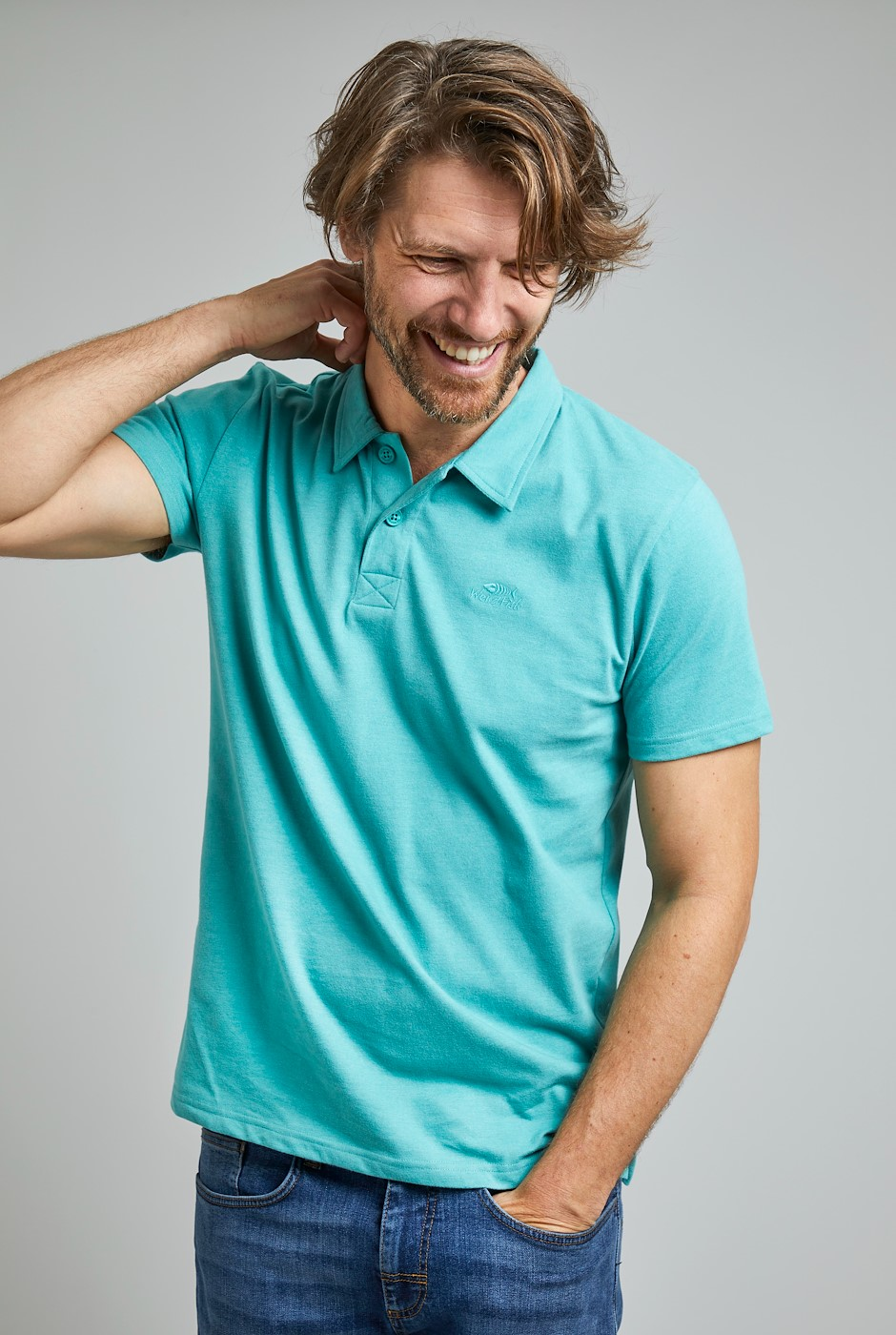 Jetstream Eco Branded Polo Washed Teal