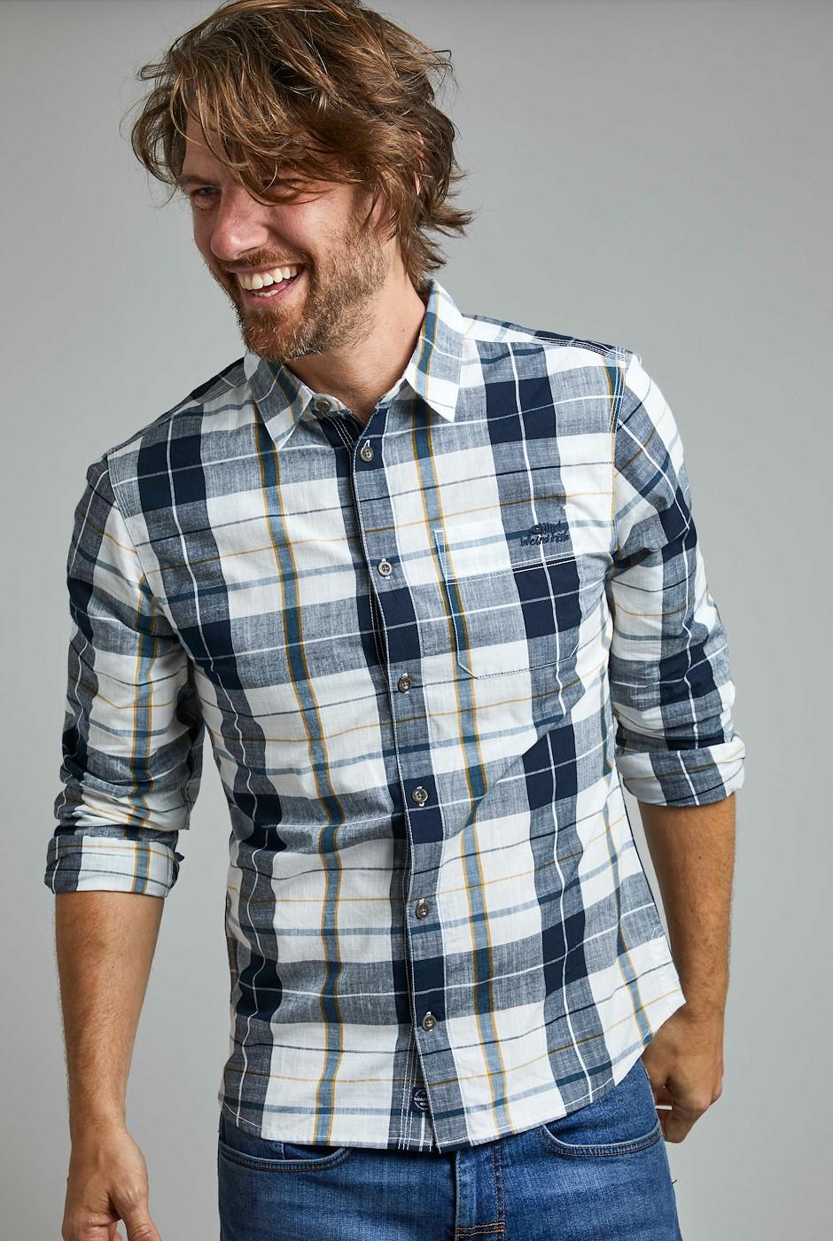 Canton Organic Long Sleeve Check Shirt  Navy
