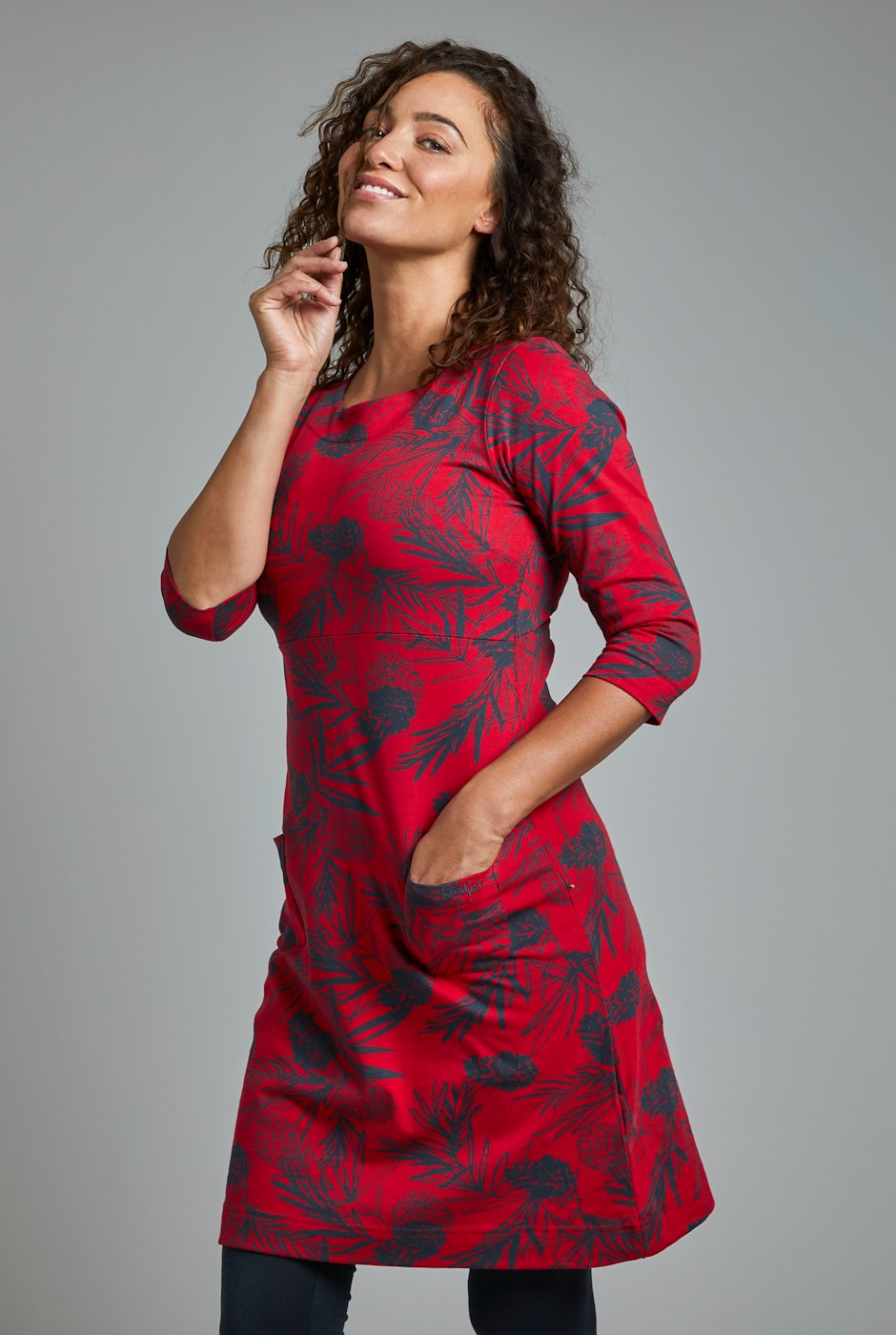 Starshine Organic Cotton Printed Jersey Dress Crimson
