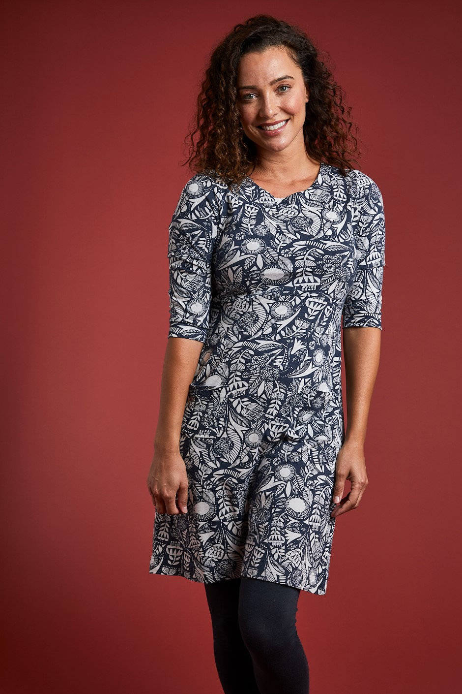 Starshine Organic Cotton Printed Jersey Dress Ink