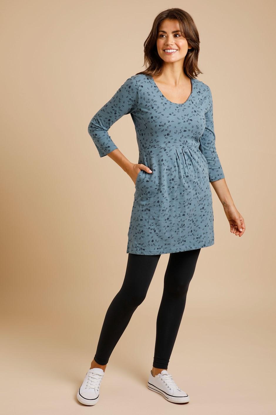 Dyed Cedar Garment Cotton Printed Tunic Blue Mirage
