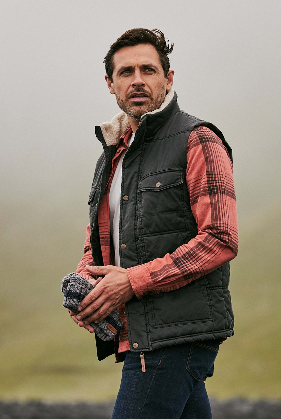 Austwell Pigment Printed Wadded Gilet Washed Black