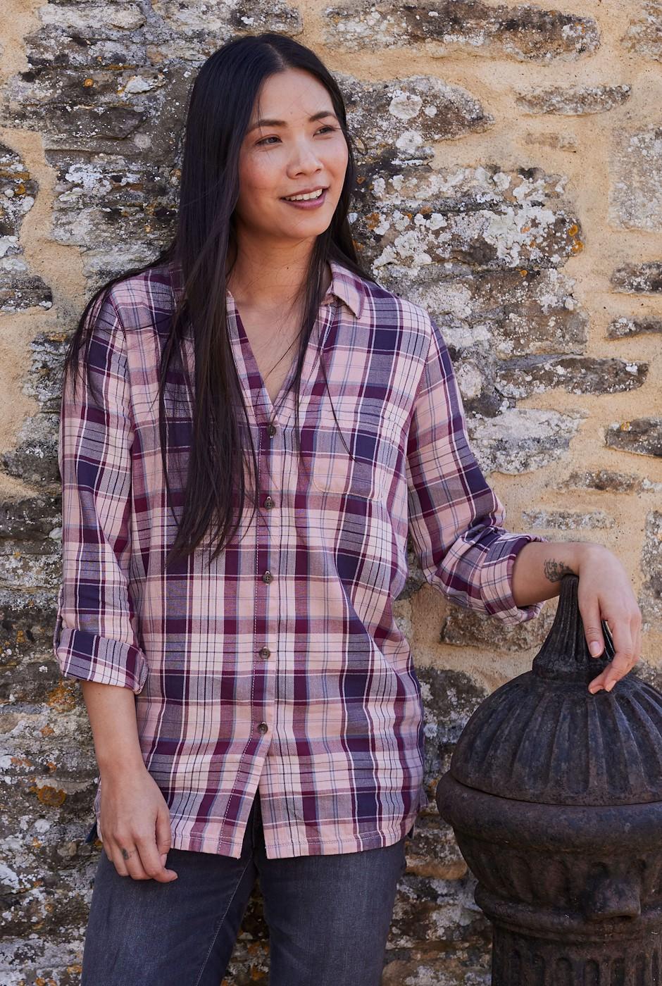 Ashill Organic Cotton Brushed Check Shirt Blush