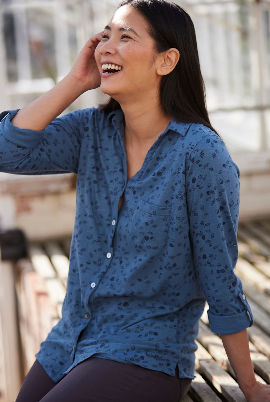 Nyssa Organic Cotton Jersey Shirt Blue Mirage