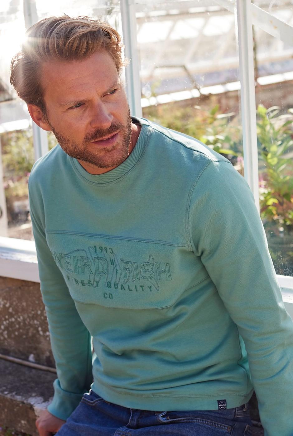 Garret Organic Reverse Brushed Sweatshirt Washed Teal