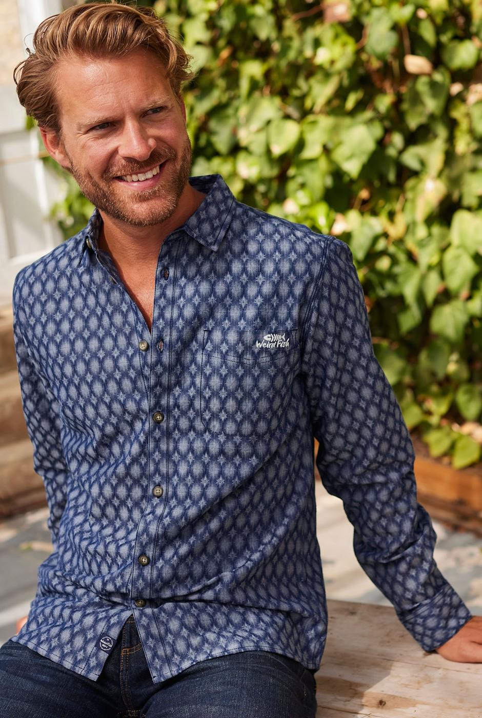 Drayton Long Sleeve Jacquard Denim Shirt Denim