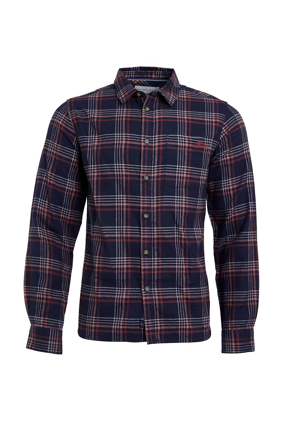 Beasley Organic Long Sleeve Herringbone Check Shirt  Navy