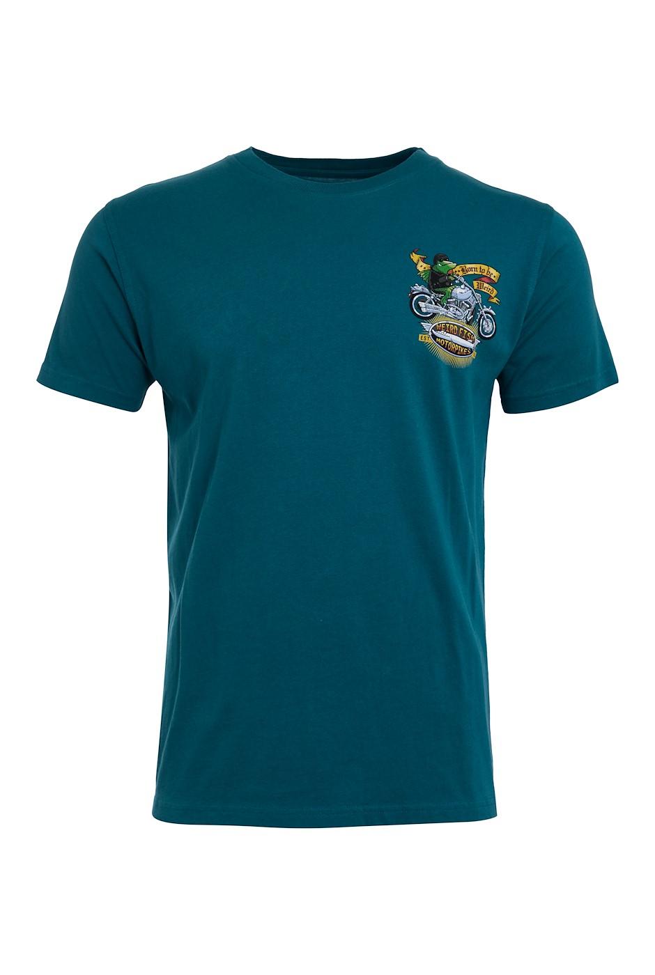Motorpikes Organic Cotton Artist T-Shirt Petrol Blue