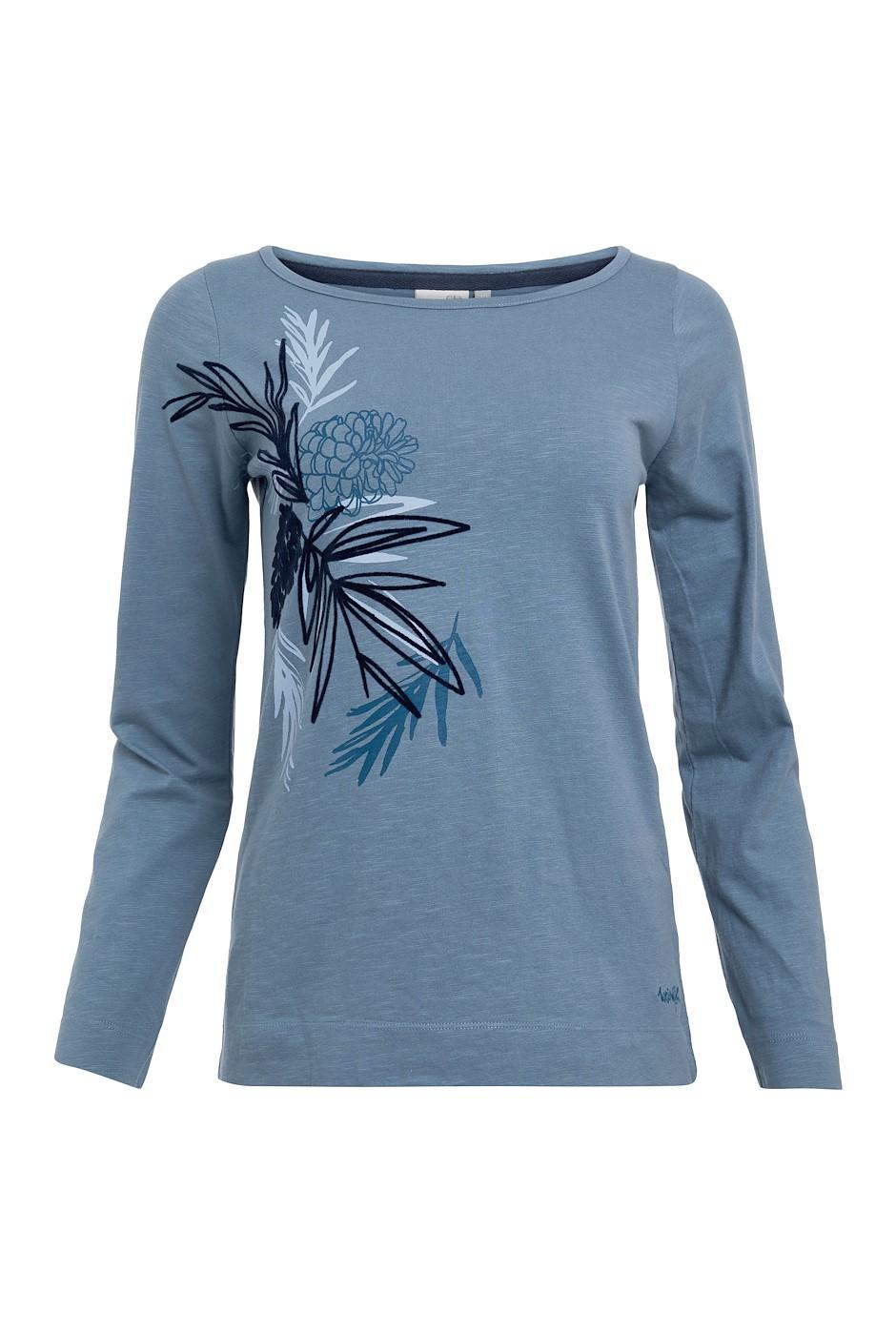 Siris Organic Cotton Long Sleeve Graphic T-Shirt Blue Mirage