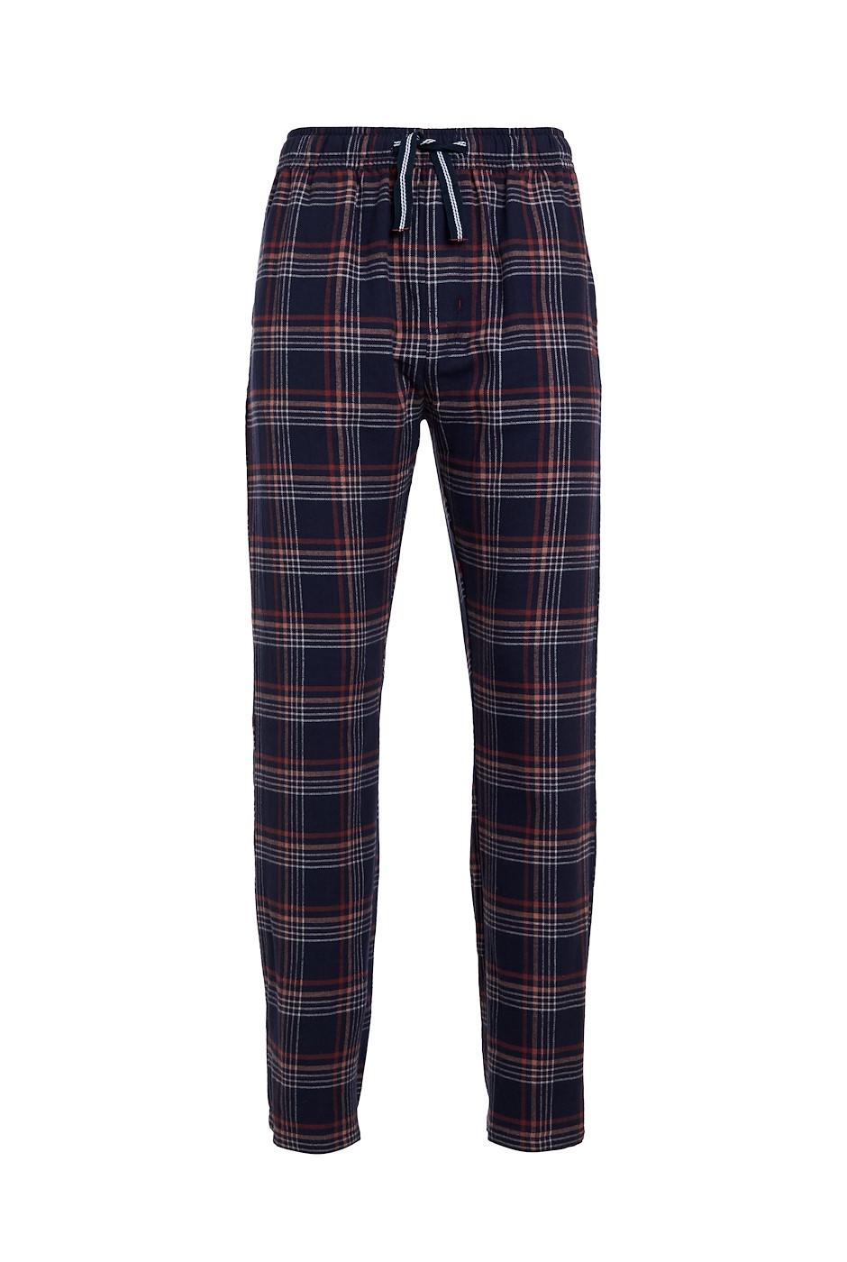 Gilmore Organic Woven Check Trouser Navy