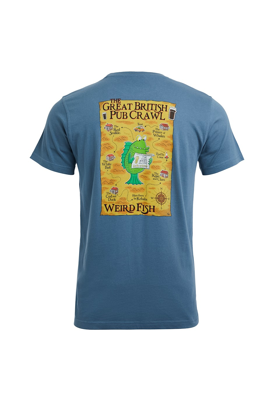 Pub Crawl Organic Cotton Artist T-Shirt Blue Mirage