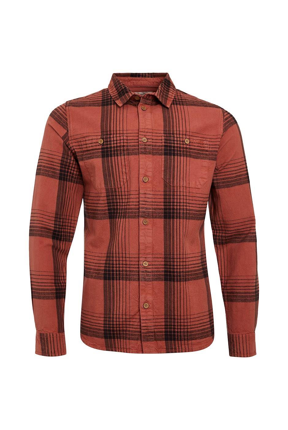 Chester Organic Cotton Long Sleeve Check Shirt Rust