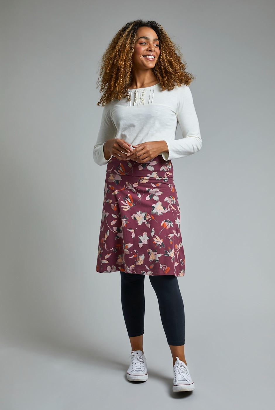 Malmo Printed Organic Jersey Skirt Burgundy