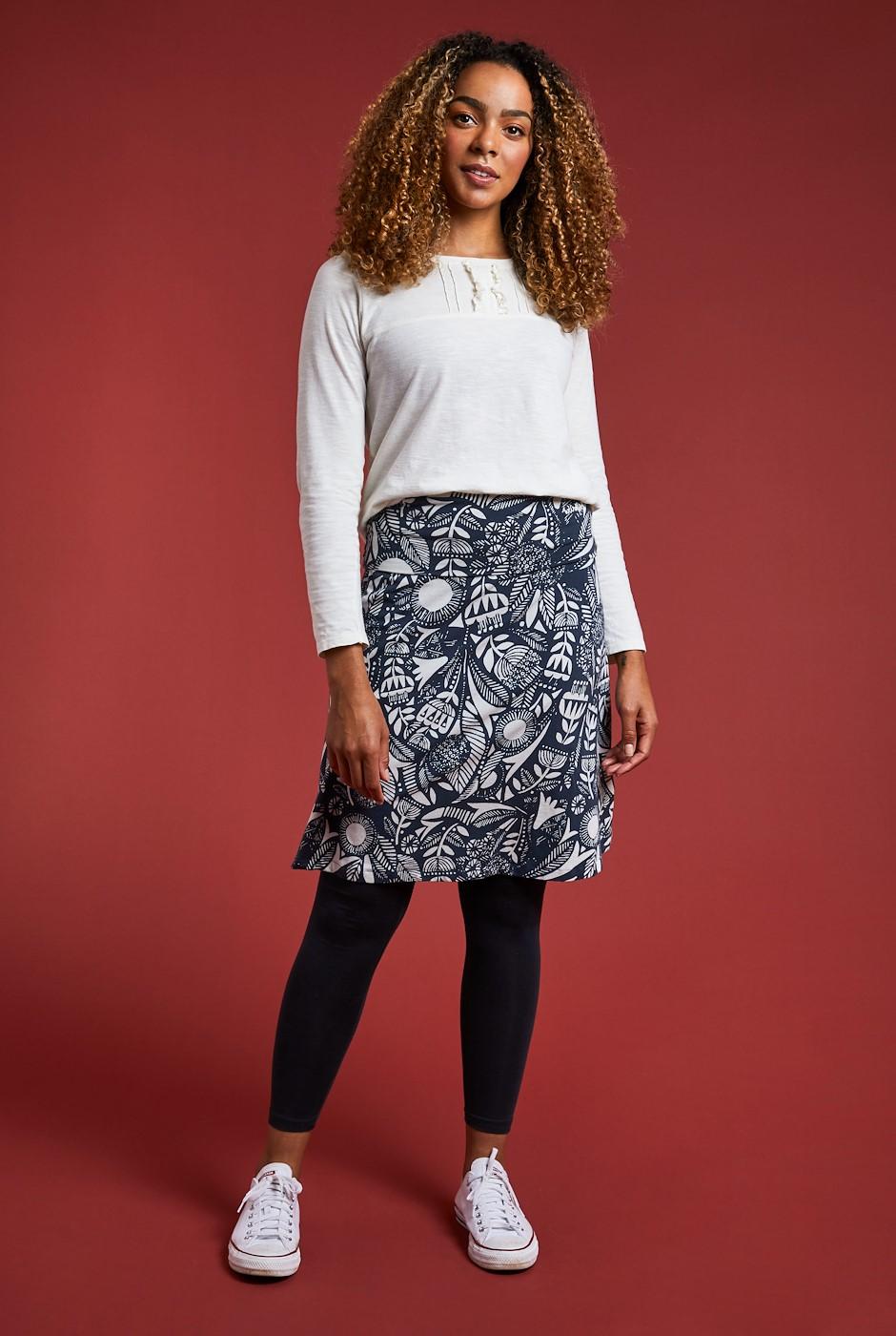 Malmo Printed Organic Jersey Skirt Ink