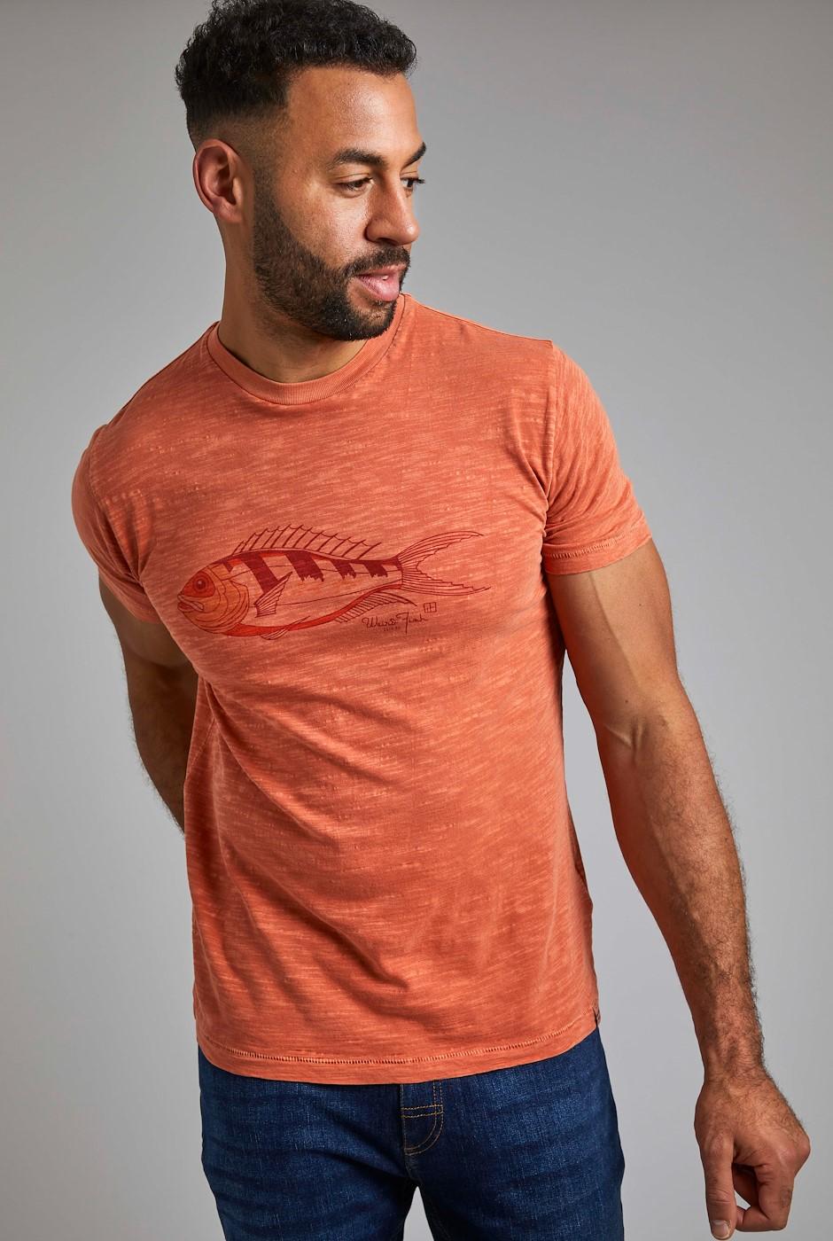 Raw Fish Organic Cotton Graphic T-Shirt Rust