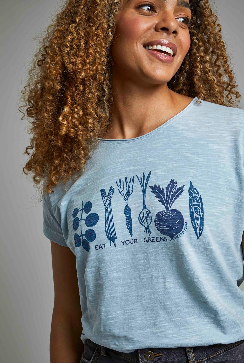 Roots Eco Graphic T-Shirt Pale Denim