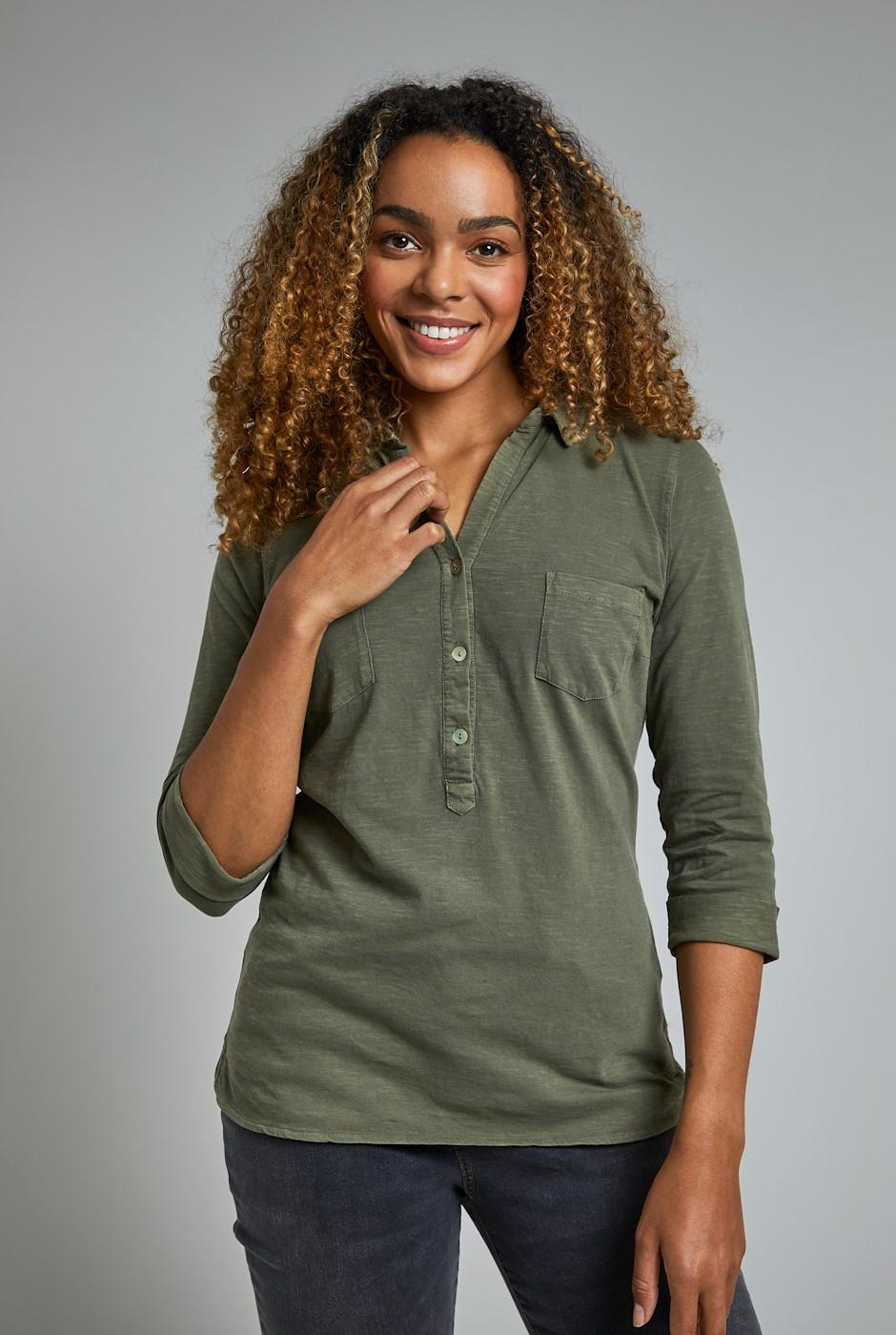 Balsa Organic Cotton Jersey Shirt Khaki Grey