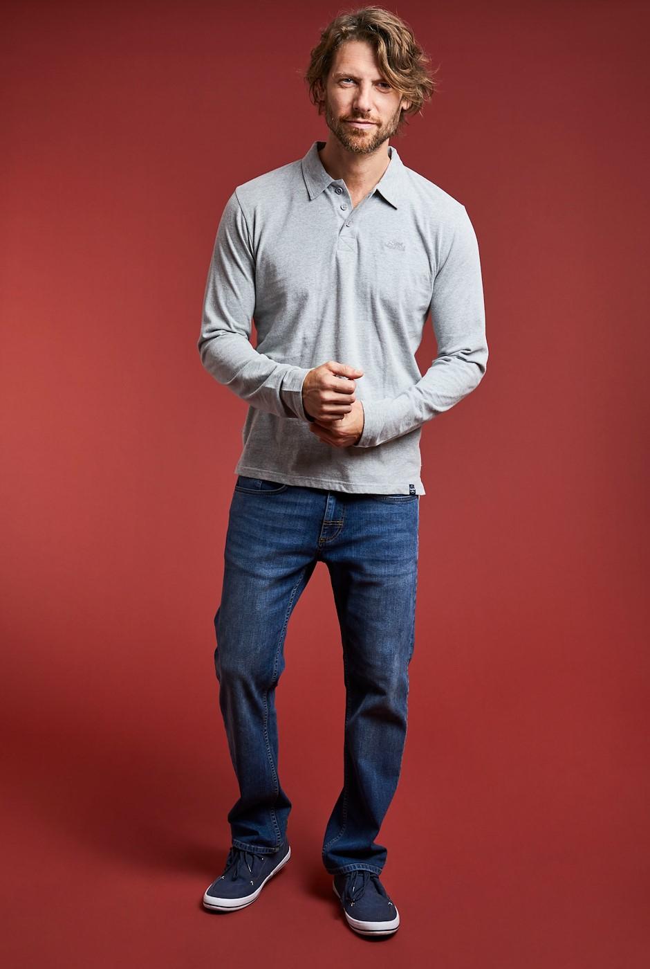 Jasper Eco Long Sleeve Branded Polo Grey