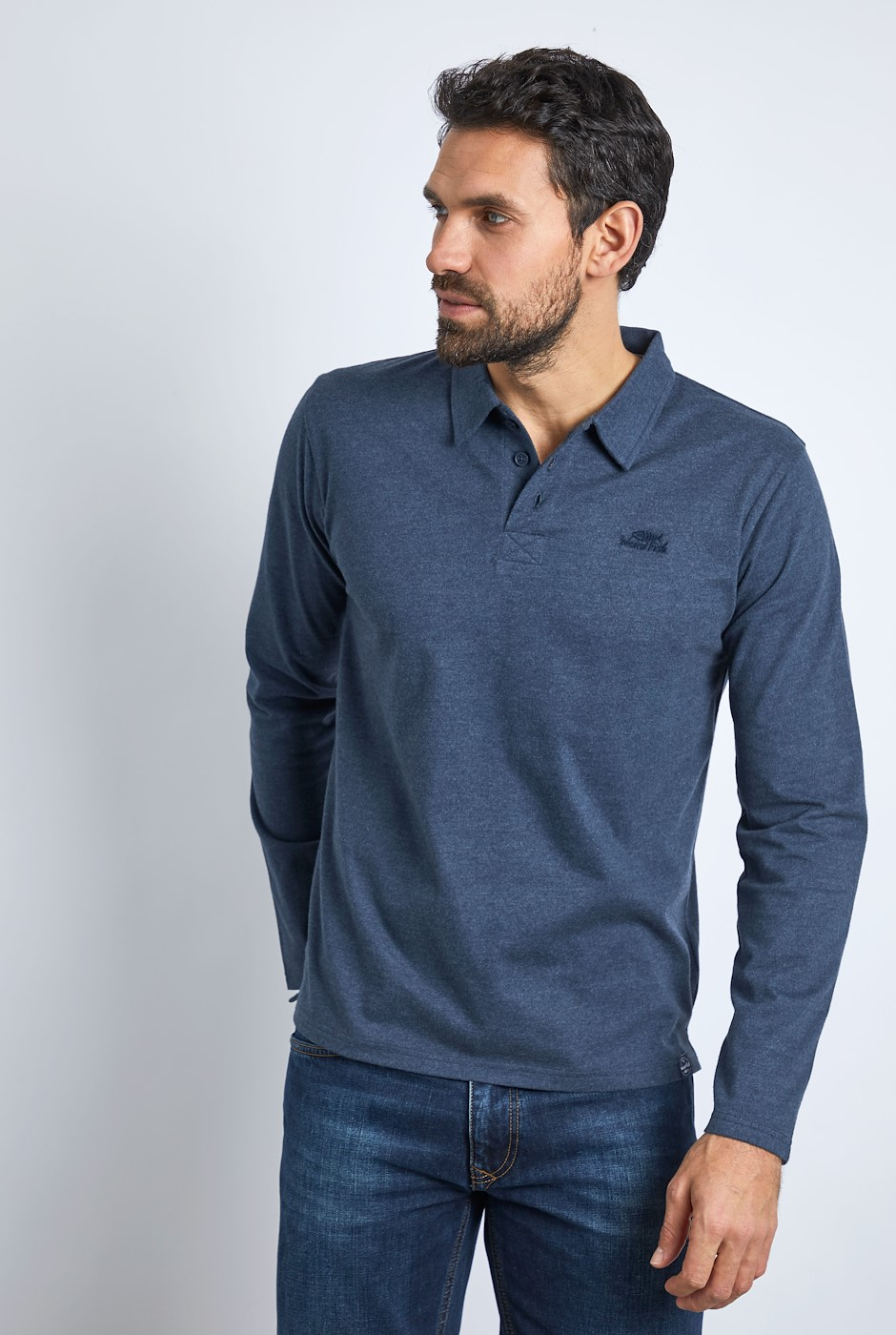 Jasper Eco Long Sleeve Branded Polo Navy