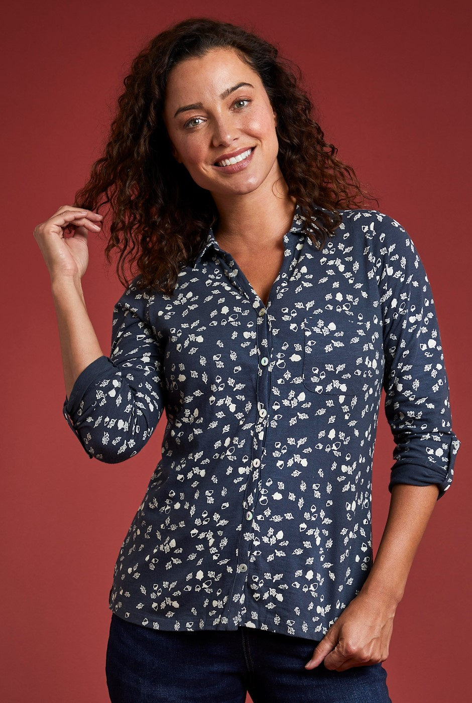 Ginny Organic Cotton Printed Shirt Dark Navy