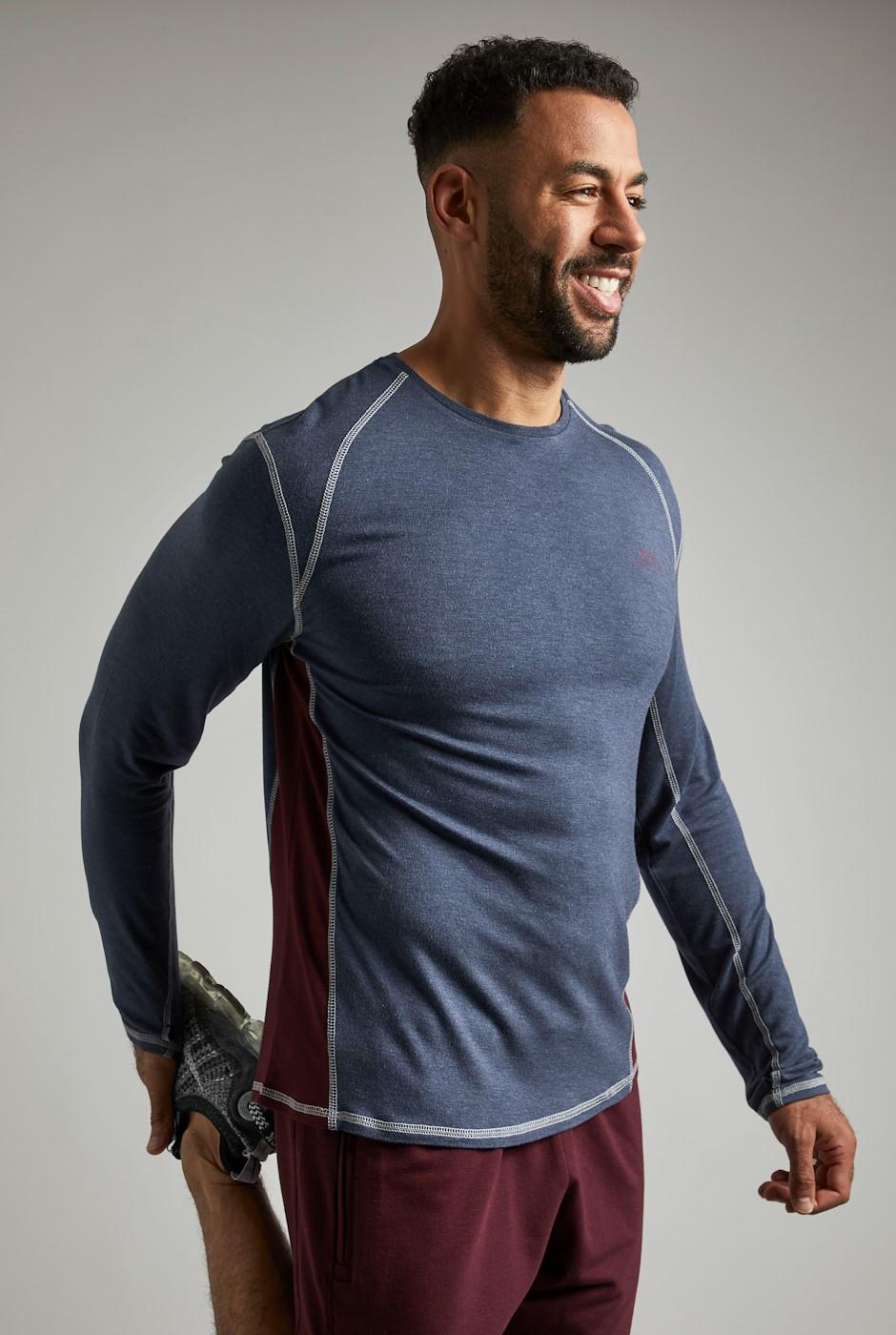 Olympus Bamboo Long Sleeve T-Shirt Navy Marl