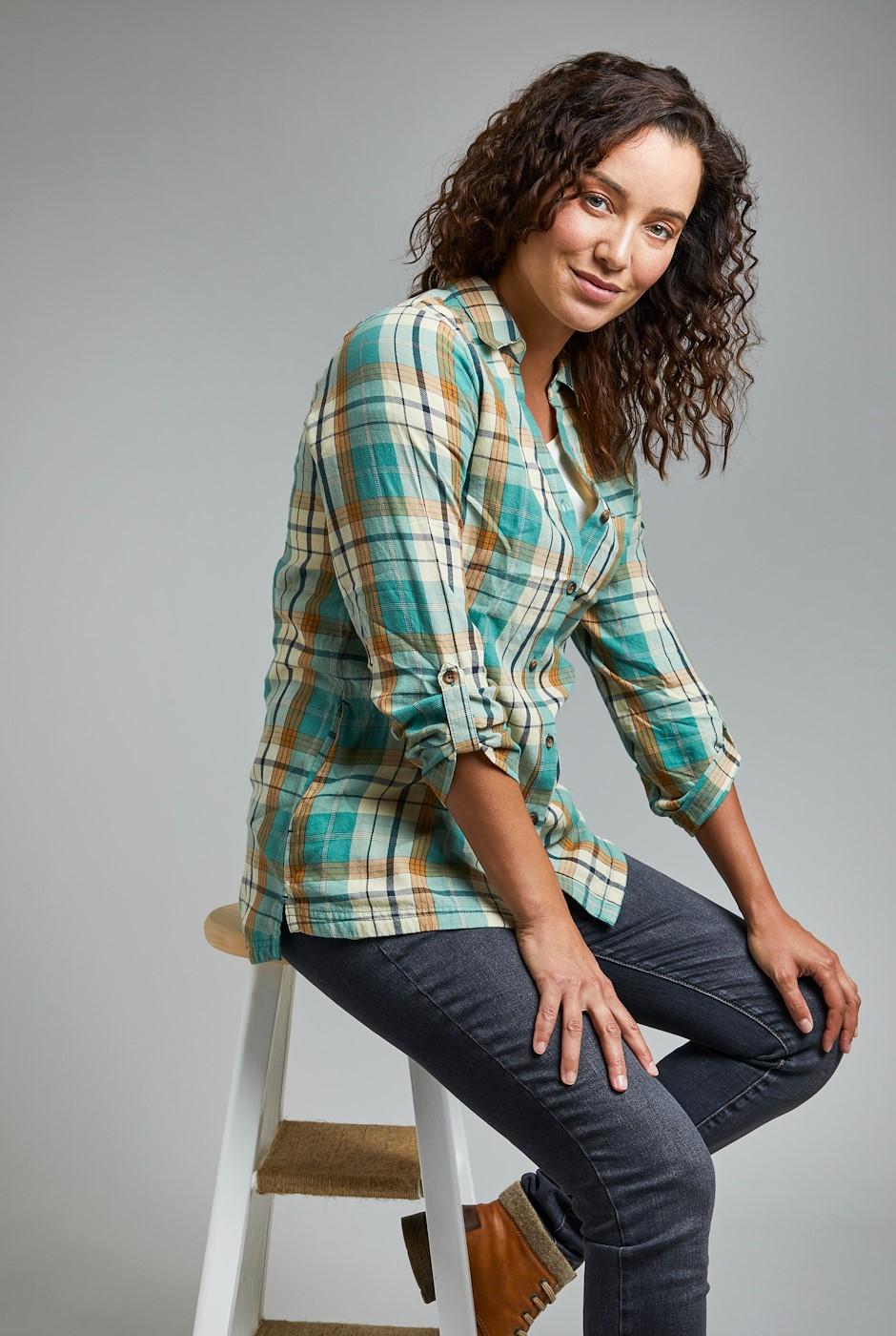 Ashill Organic Cotton Brushed Check Shirt Washed Teal
