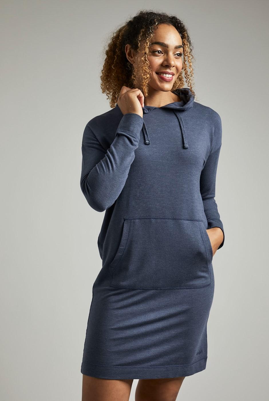 Skyla Bamboo Hooded Easy Dress Navy Marl