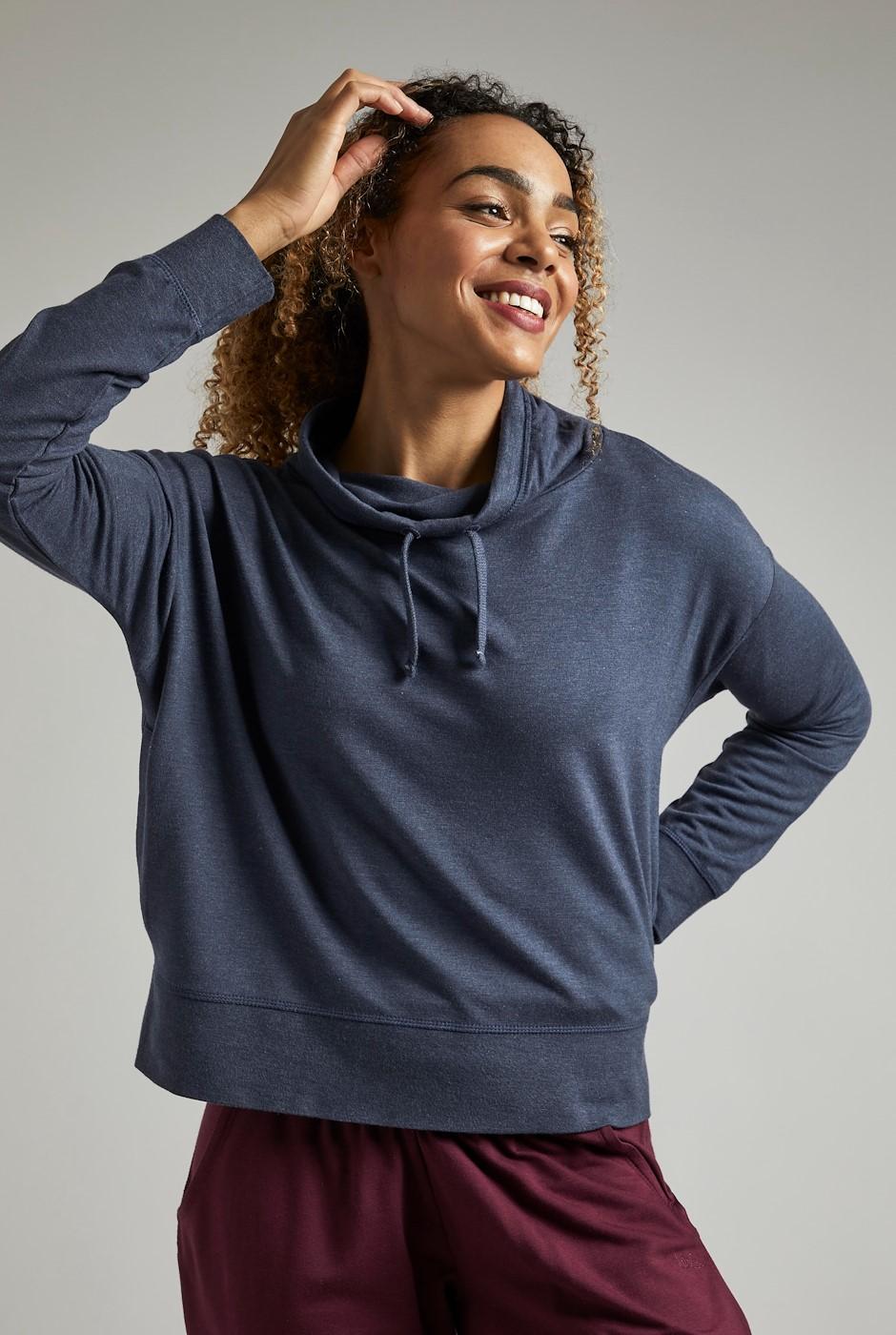 Indria Bamboo Cropped Cowel Sweatshirt Navy Marl
