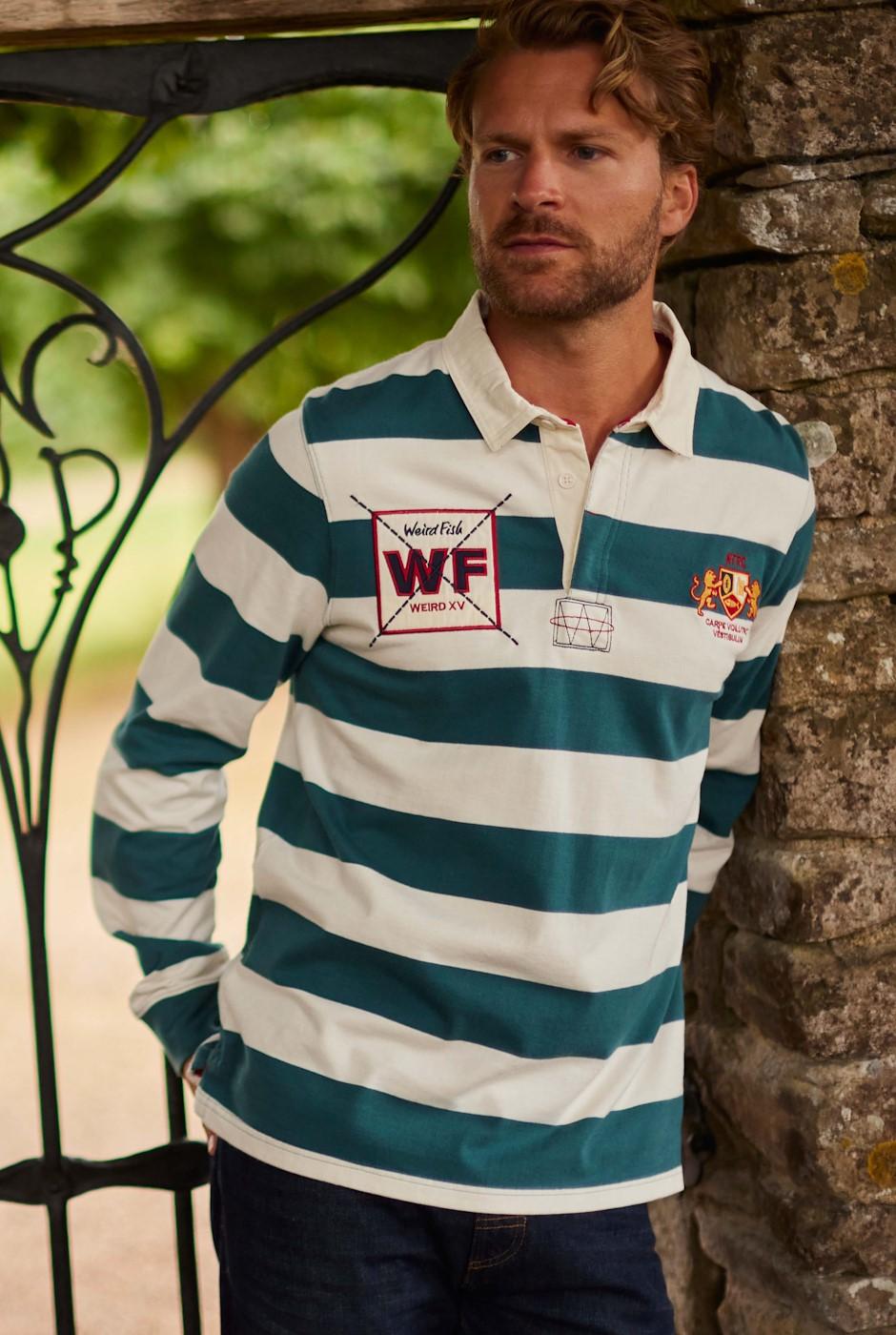 Leigh Organic Long Sleeve Striped Rugby Shirt Petrol Blue