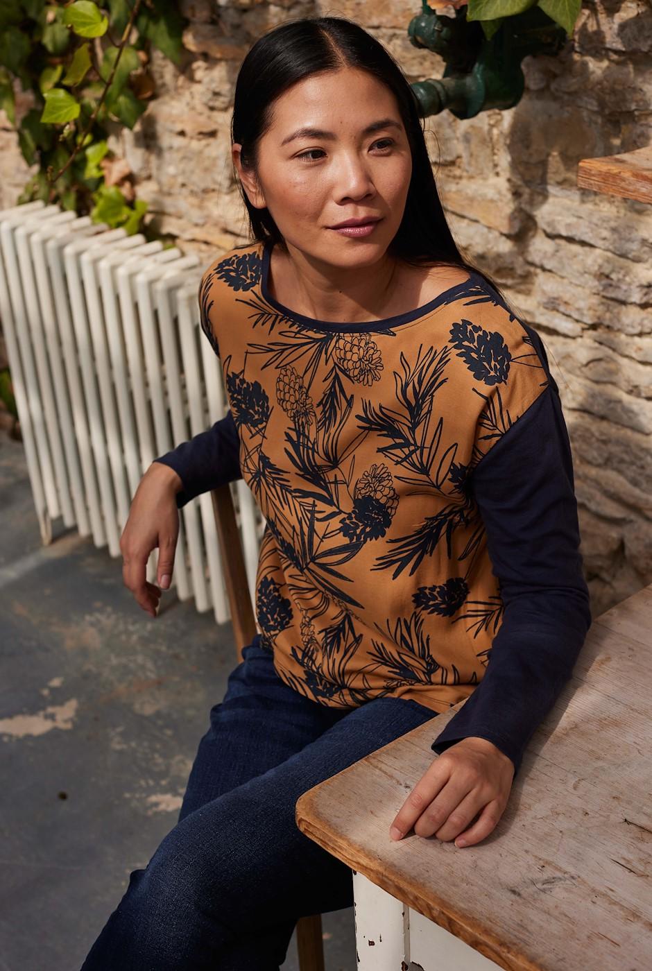 Runa Printed Cotton Sleeve T-Shirt Mustard