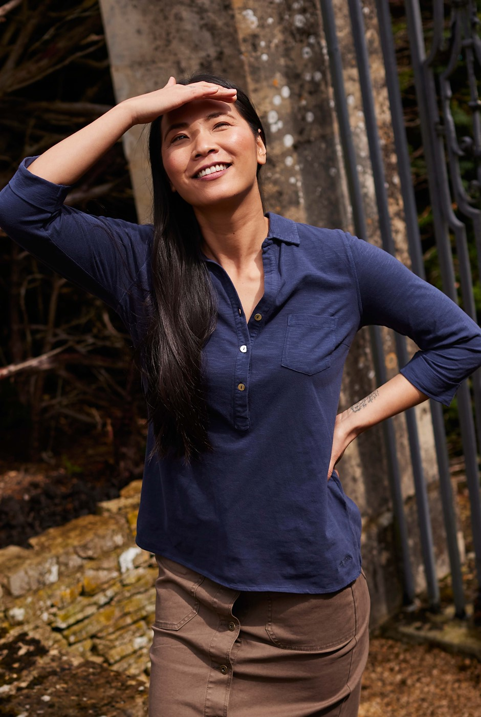 Balsa Organic Cotton Jersey Shirt Navy