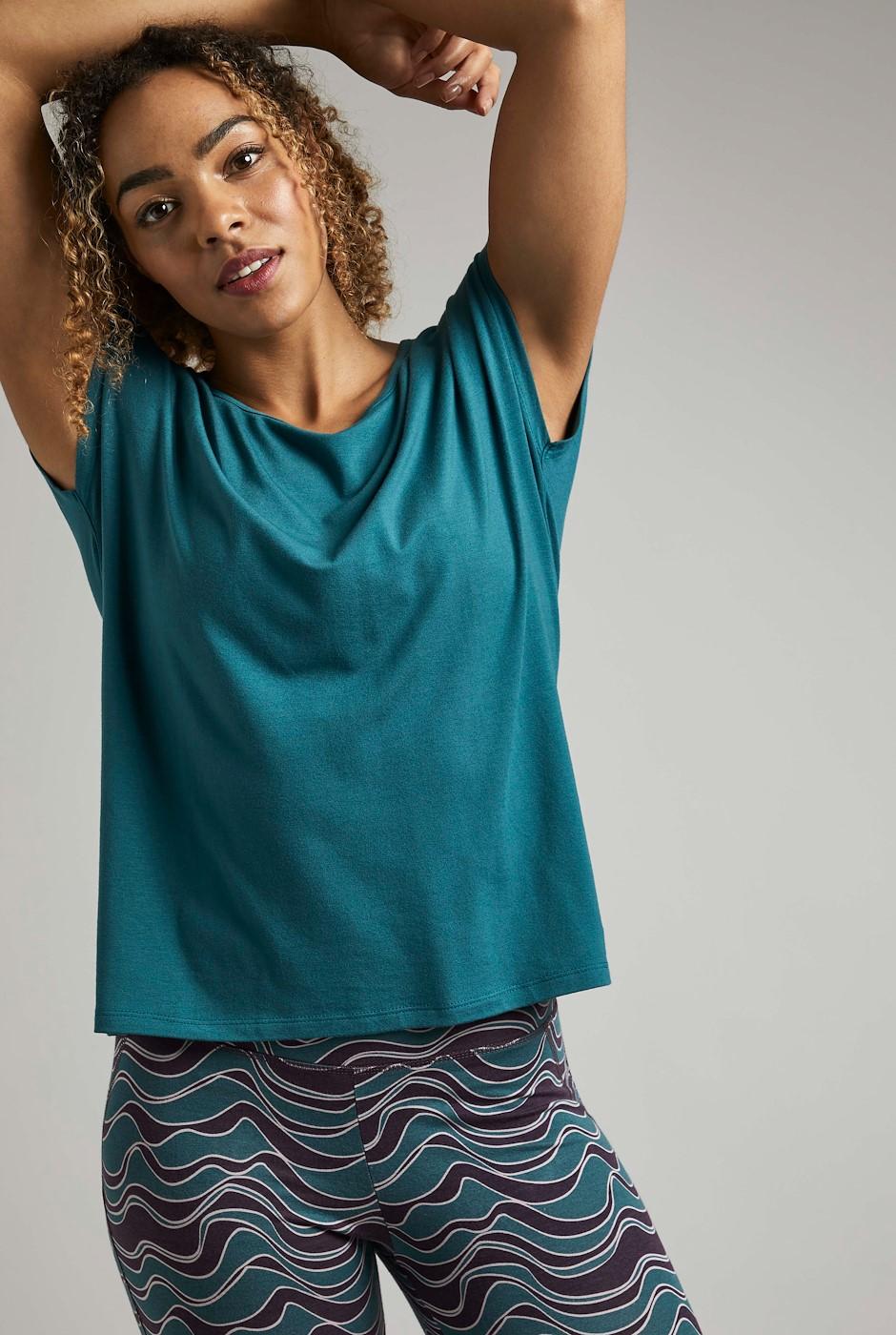 Athena Bamboo Yoga T-Shirt Petrol Blue