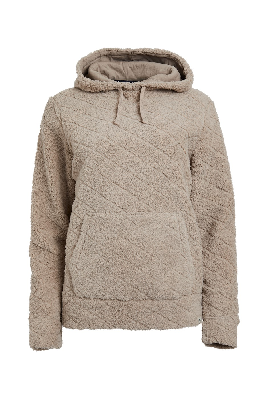 Suncoo Quilted Sherpa Popover Hoodie Chalk