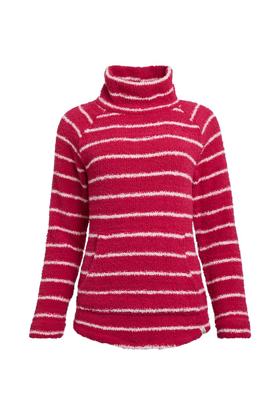 Sarno Stripe Polyester Feather Fleece Cranberry