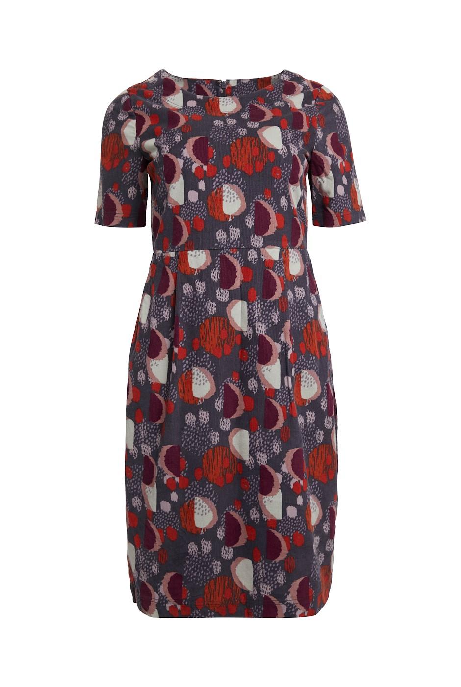 Mirei Printed Cord Dress Charcoal