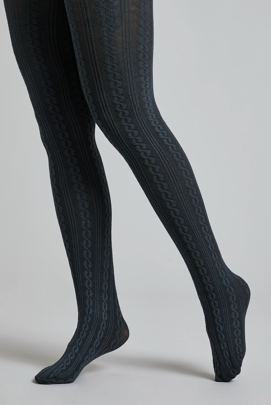 Kendra Cable Tights Charcoal