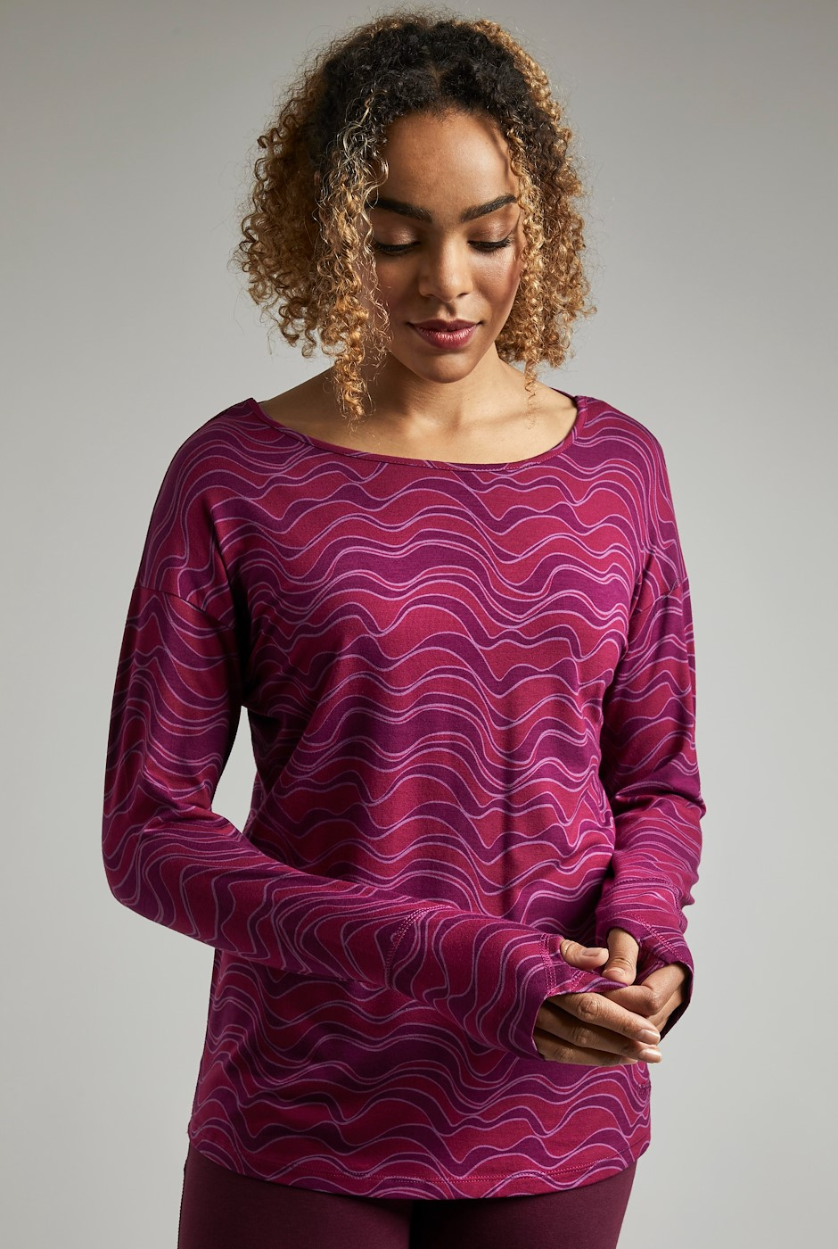 Hestia Bamboo Printed T-Shirt Cranberry