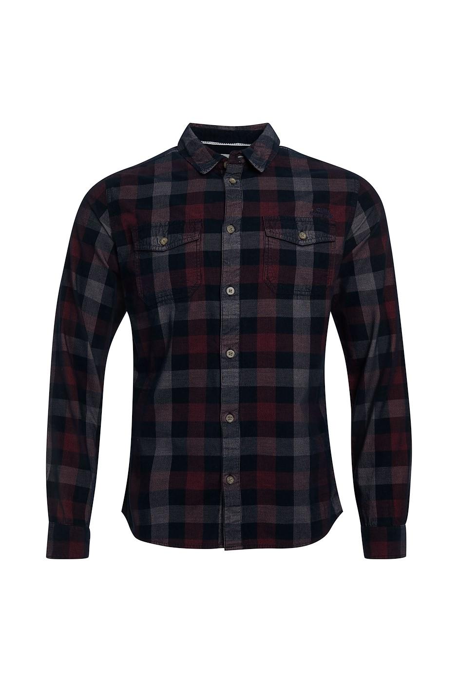 Everman Long Sleeve Cord Check Shirt Navy