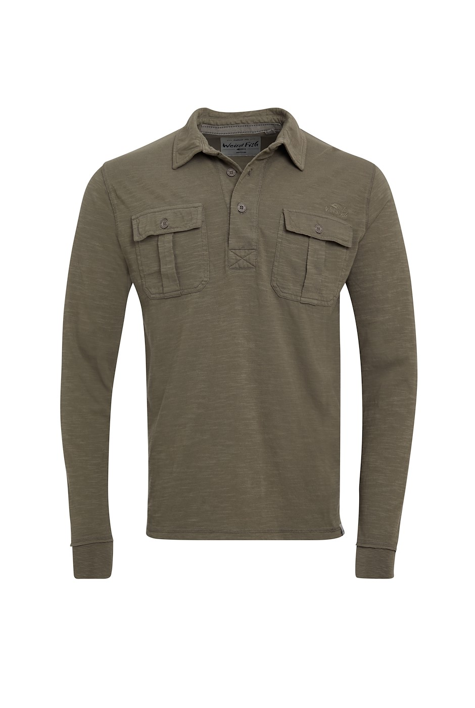 Cassidy Organic Cotton Long Sleeve Polo Khaki Grey