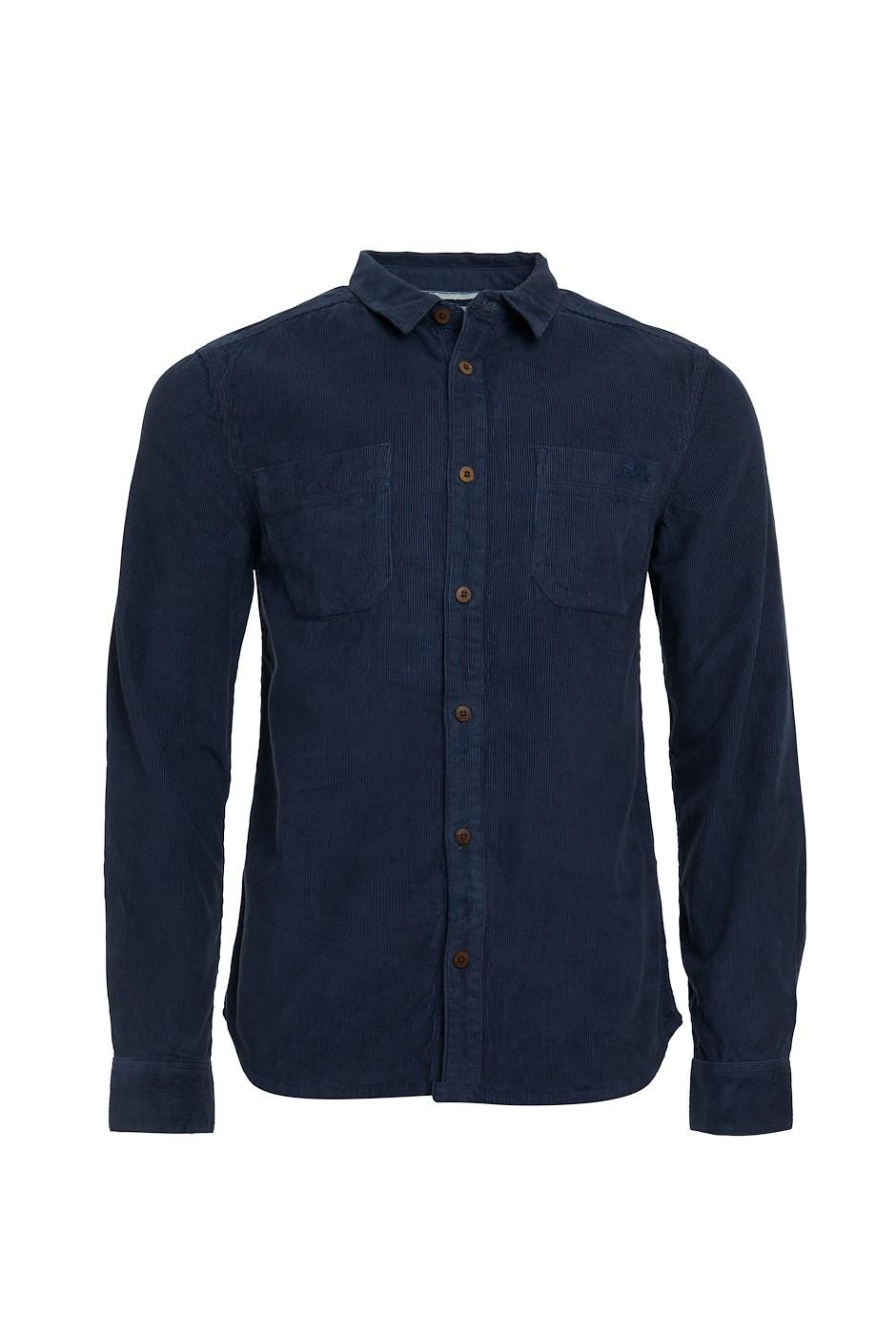 Leonard Long Sleeve Cord Shirt Navy