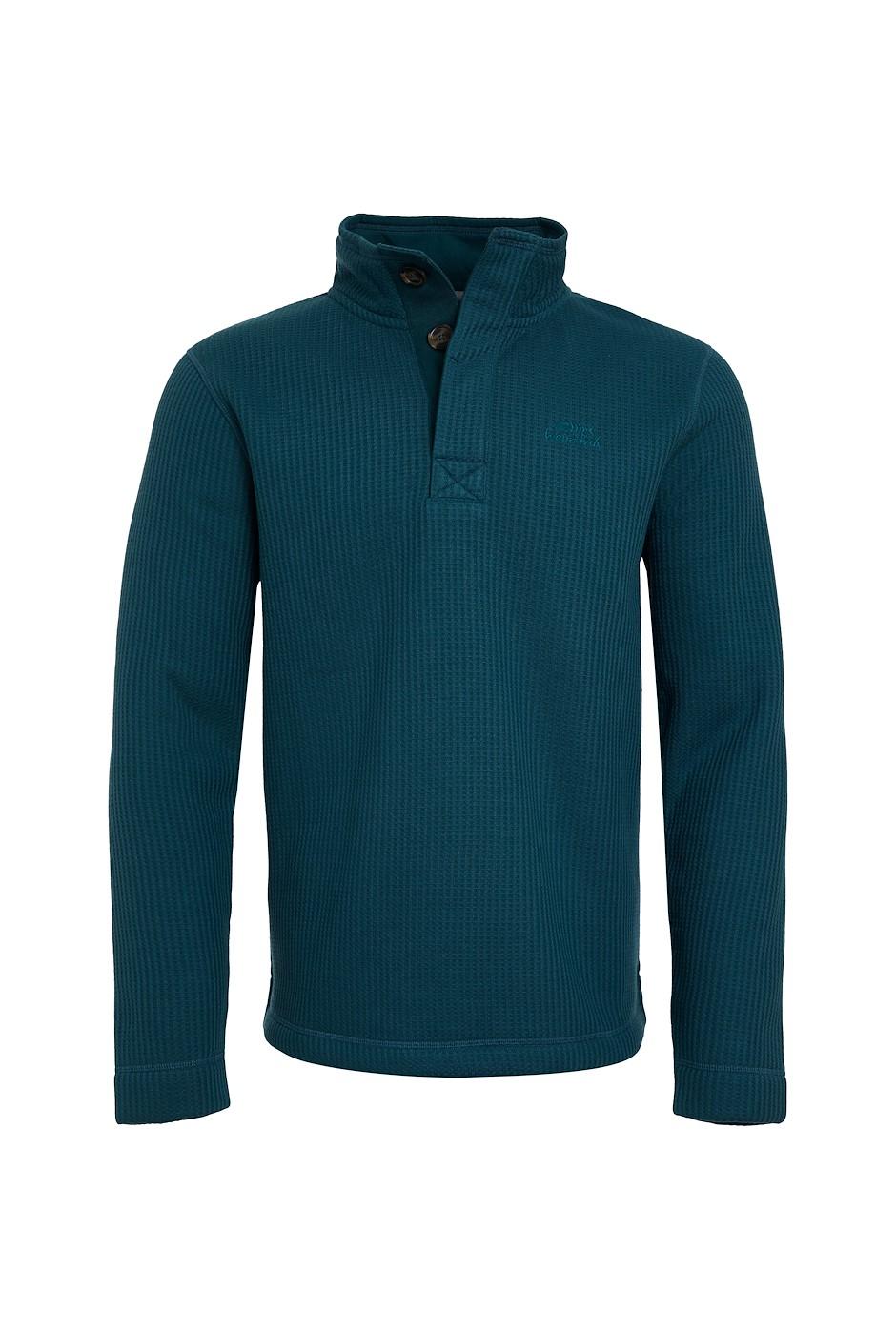 Floyd Button Neck Bonded Waffle Sweatshirt Petrol Blue