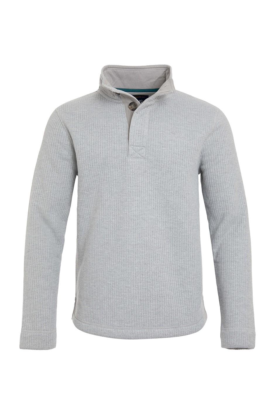 Floyd Button Neck Bonded Waffle Sweatshirt Frost Grey