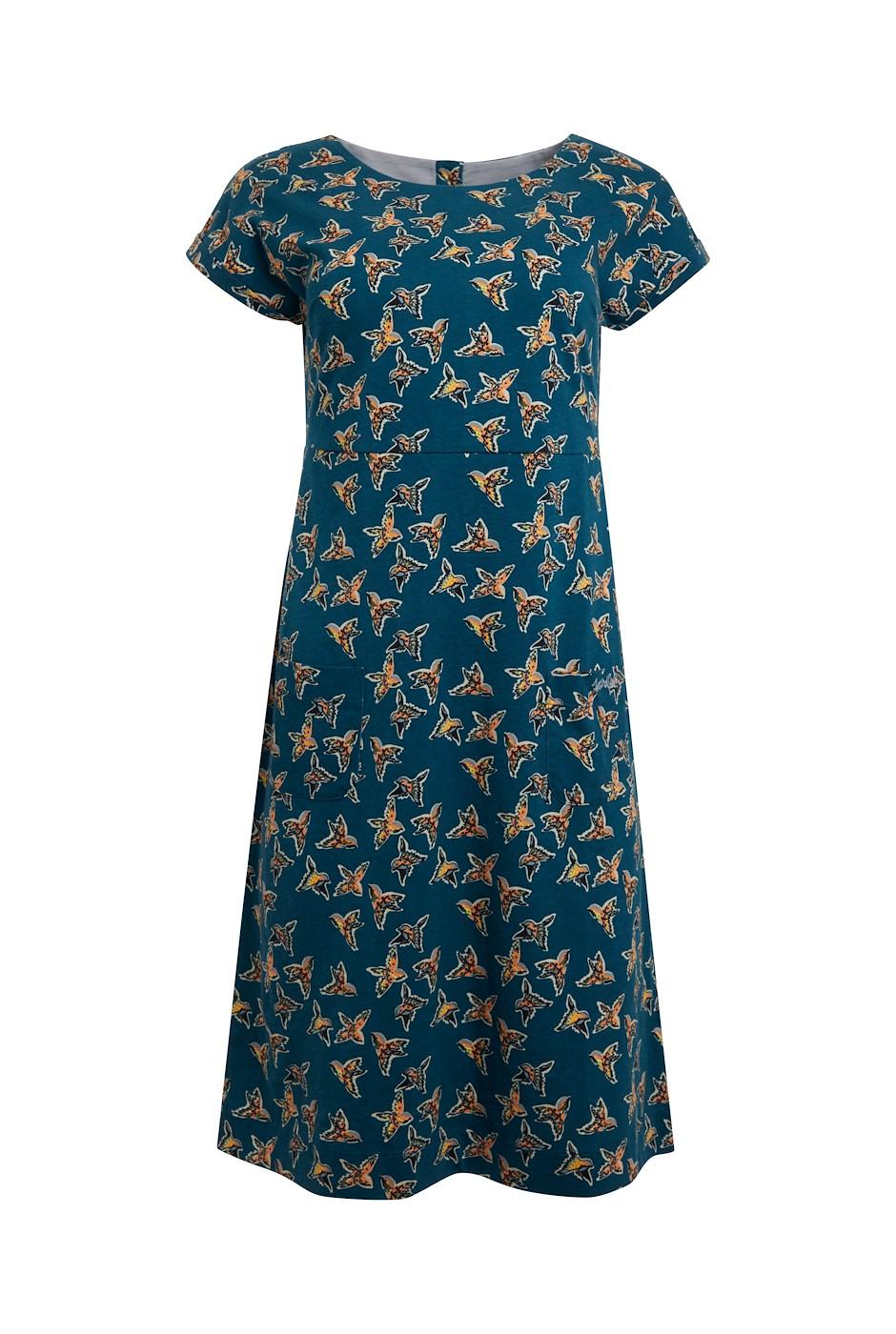 Tallahassee Organic Printed Jersey Dress Deep Teal