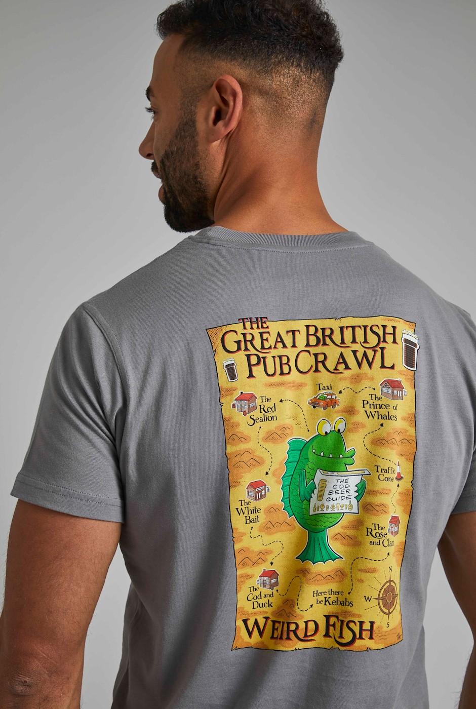 Pub Crawl Organic Cotton Artist T-Shirt Frost Grey