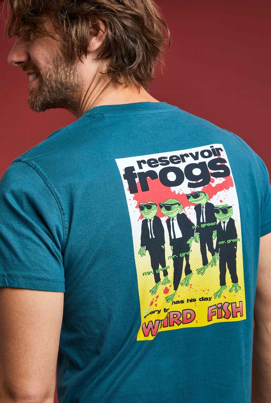 Reservoir Frogs Organic Cotton Artist T-Shirt Petrol Blue