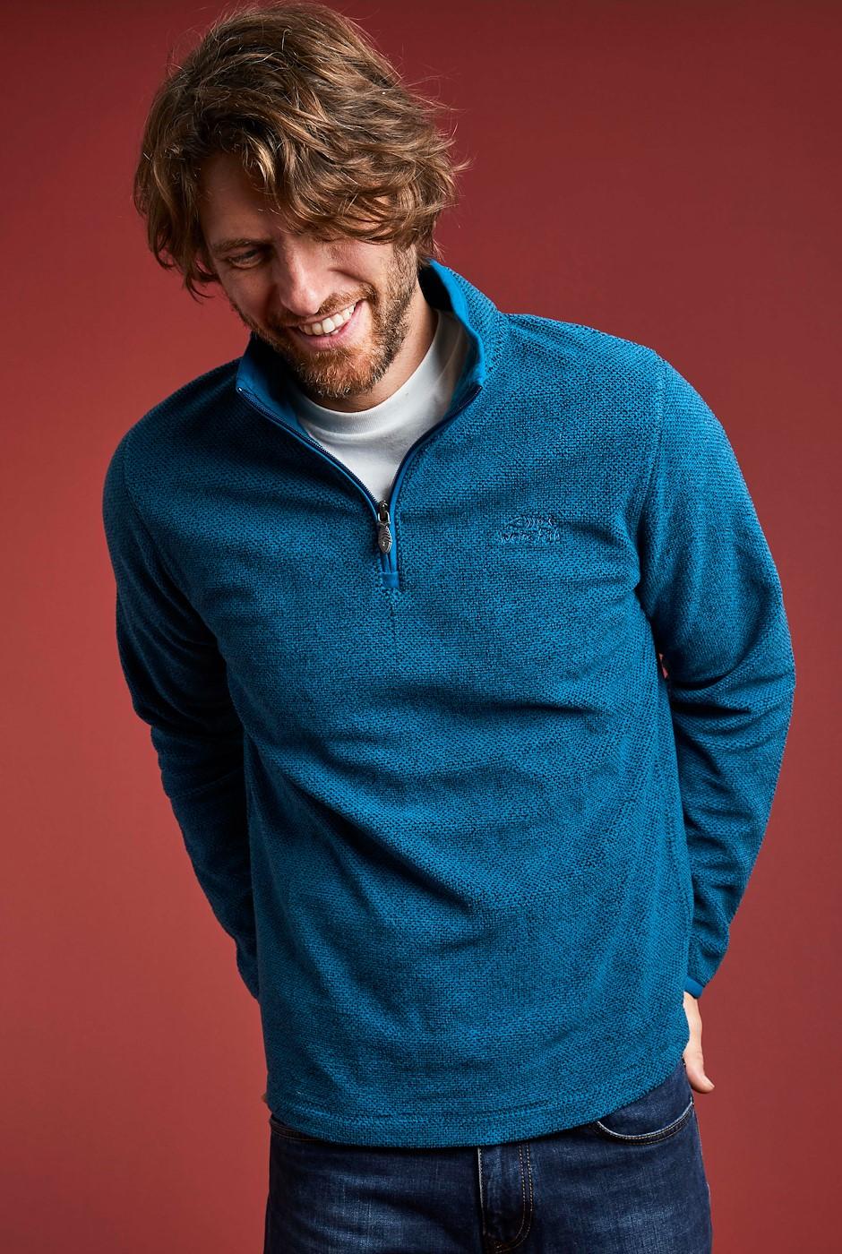 Errill  1/4 Zip Textured Fleece Tall Petrol Blue